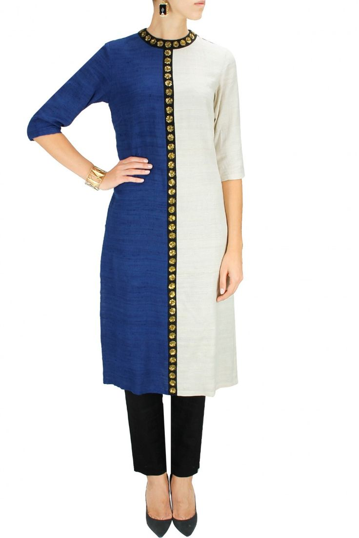 Ivory and blue half and half embroidered kurta with black pants by Priyal Prakash. Shop now at www.perniaspopups... #mostwanted #designer #fashion #couture #shopnow #perniaspopupshop #happyshopping