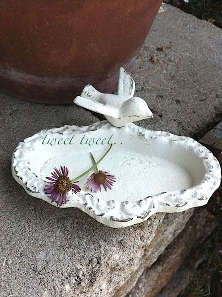 Petite Garden Bird Bath Shabby Chic Garden Decor by ...