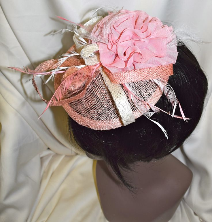 Blush Pink & Ivory Fancy Fascinator with Flower