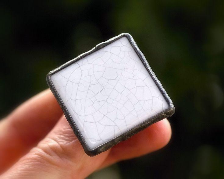 ring with raku ceramic, white, metalwork, raku firing technique,  square ceramic ring, adjustable ring, handmade by pentaxPL on Etsy