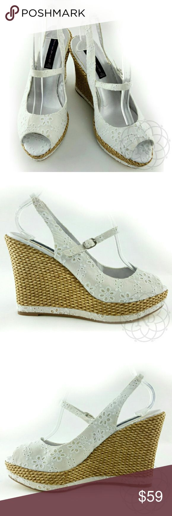 """STEVEN White Eyelet Summer Wedges Stunning STEVEN White Eyelet Summer Wedges  ▪ Heel Height: 4 3/4"""" inches  ⚠ All measurements are approximate  💥 Brand New without Tag or Original Box   ✋ All Sales Final   🚫 Trades or Holds Steven Shoes Wedges"""