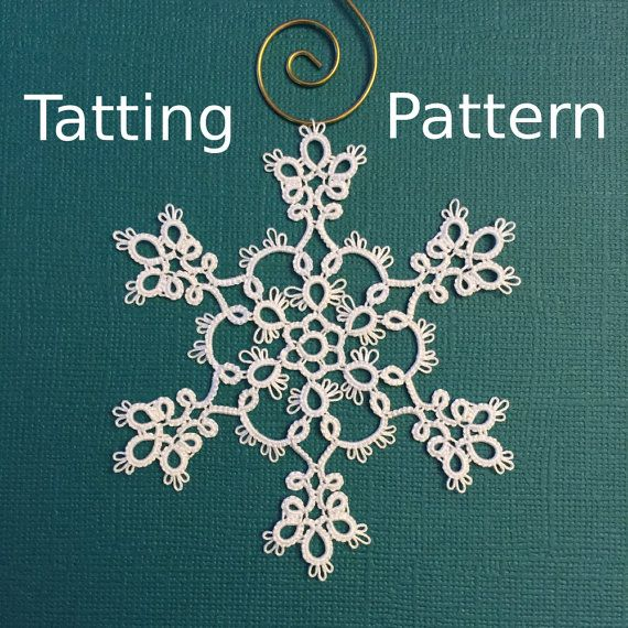 This listing is for a digital snowflake tatting pattern, available as an instant download. The file is in PDF format and is approximately 1.5 MB