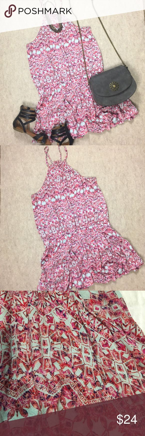 """Free People Halter Neck Drop Waist Tribal Dress Free People pink halter drop waist tribal print dress size small  Gently used, no rips, holes or stains  Approximate measurements: armpit to armpit--18""""  Length armpit to front hem--24.5"""" Free People Dresses Mini"""