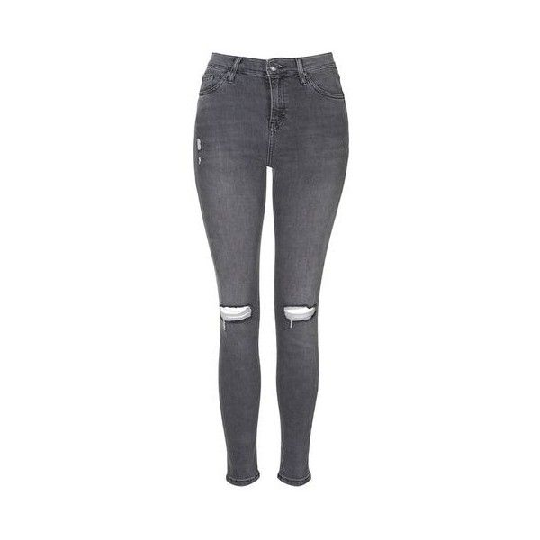 TopShop Moto Grey Ripped Jamie Jeans (£25) ❤ liked on Polyvore featuring jeans, bottoms, grey, distressed skinny jeans, high rise skinny jeans, destroyed skinny jeans, high waisted stretch jeans and stretch skinny jeans