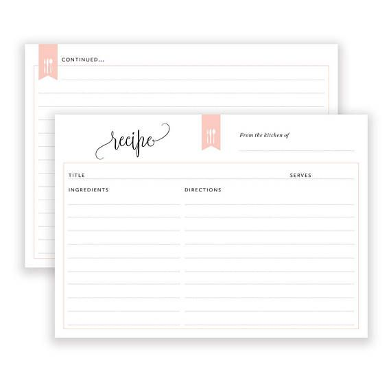 Recipe Cards Printable Bridal Shower Recipe Card 6x4 Recipe Etsy Bridal Shower Recipes Cards Printable Recipe Cards Recipe Cards Template