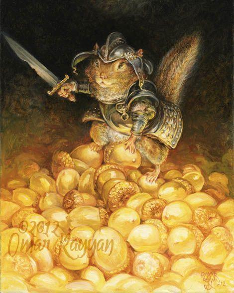 Omar Rayyan.                                                 The golden hoard, oil on panel, 2012.