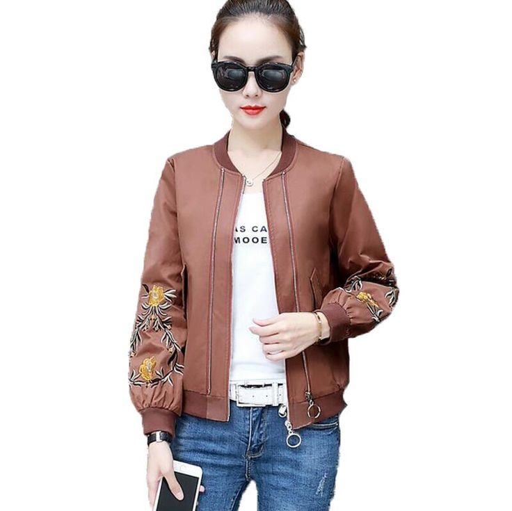 Women Baseball Sweatshirt Female Bomber Jacket Fashion Floral Embroidery Casual Outwear Ladies Long Sleeve Basic Jackets Coats #Affiliate