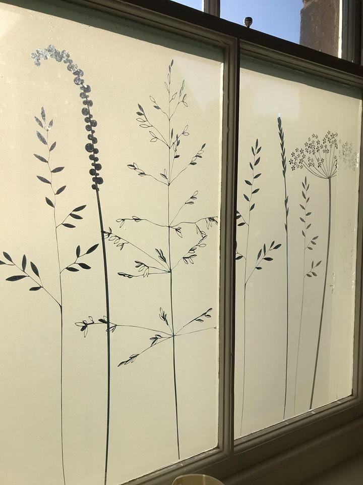 Decorative meadowy window film by Hannah Nunn #window #film #decorative #glass #decor #glassart #meadow