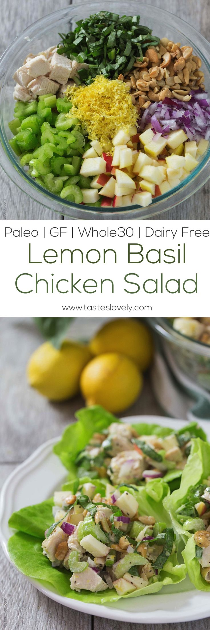 Paleo Lemon Basil Chicken Salad Lettuce Wraps - a light and healthy lunch recipe that is gluten free, whole30, paleo and dairy free!