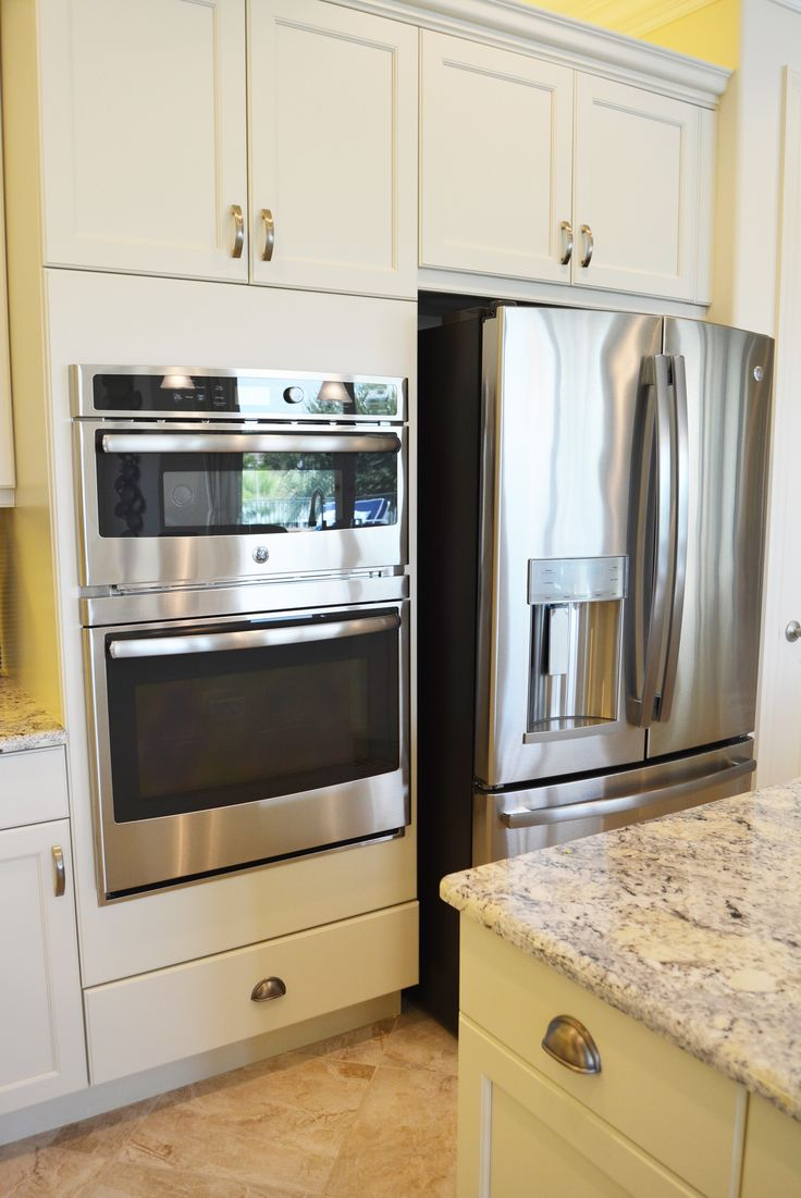 GE Micowave and Wall Oven with French Door Refrigerator.