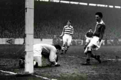 Rangers 2 Celtic 0 in Jan 1957 at Ibrox. Action from the Scottish Division 1 New Years Day clash.