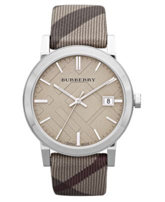 Burberry Watch, Women's Swiss Trench Check Fabric Strap 38mm BU9023 - Women's Watches - Jewelry & Watches - Macy's