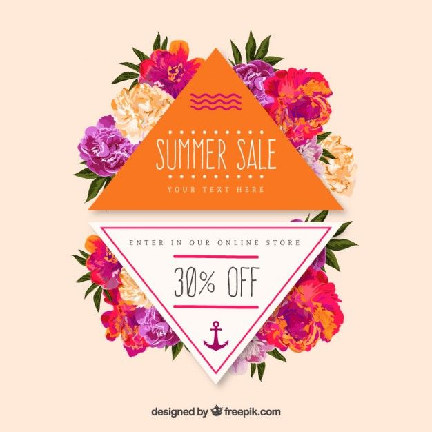 Colorful summer sale badges with flowers Free Vector