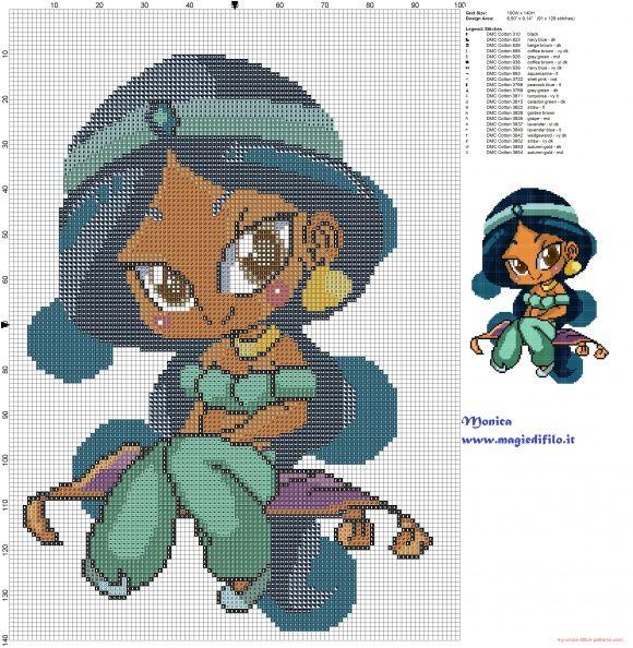 Chibi Jasmine cross stitch pattern (click to view)