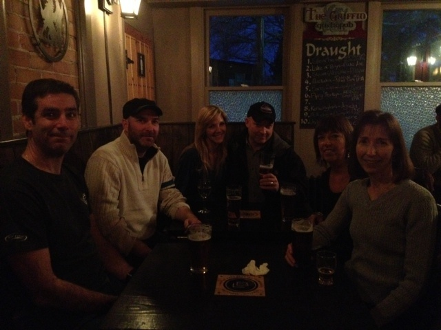 2012 New Year's Eve primer at the Griffin Pub in Bracebridge, Ontario, with (left to right) bro-in-law Guy, bro Chris, wife Jackie, me, sis Erin and sis Shannon. Best pub in town!