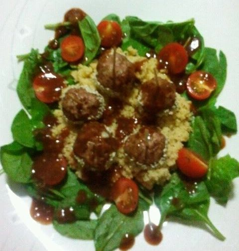 Saucy Asian Meatballs with Pineapple and Lemongrass Couscous