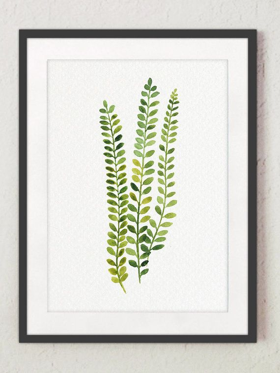 Fern Painting Green Abstract Leaf Watercolor Decor. Set of 4 Green Leaves Kitchen Wall Art Prints. Ferns Illustration Living Room Decor. Gift