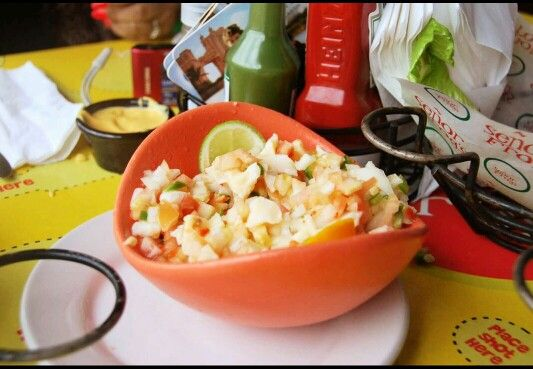 Conch Salad..just fell in love..its a must try in any Bahamian Island!! #senorfrogs #nassau