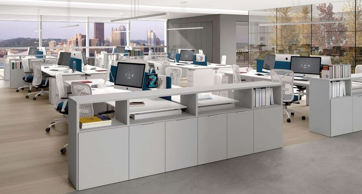 Z684 - Desk with P05 leg with drawers, combined with Link System. Flexa chair. Monopoli cabinet.