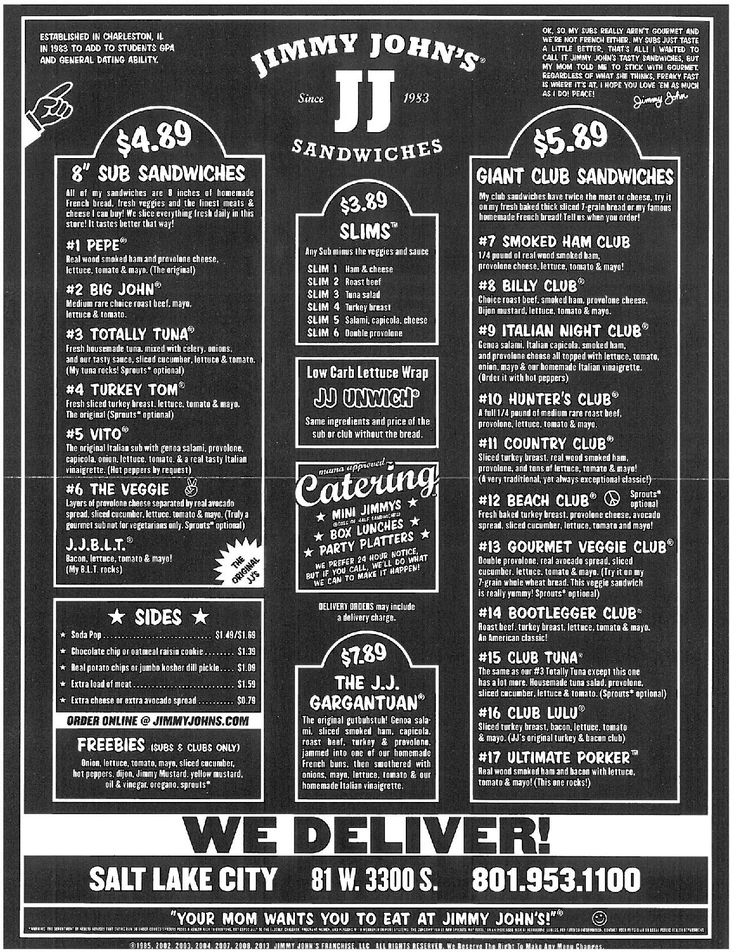 If this menu had taco tom written on it it would still be Jimmy John's menu.