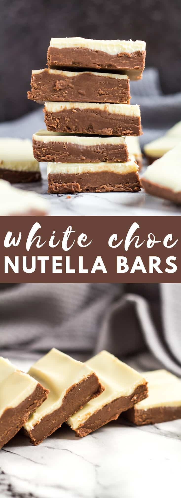 No-Bake White Chocolate Nutella Bars-Deliciously creamy and fudgy no-bake Nutella bars topped with white chocolate. A perfect quick and easy chocolate treat! #nobake #whitechocolate #nutella #bars