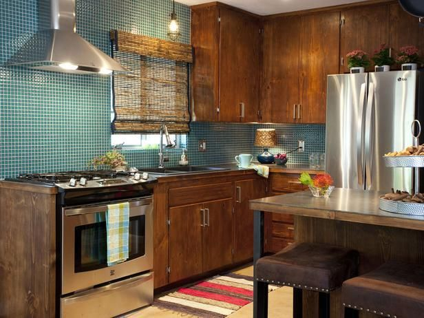 Popular makeovers from the HGTV hit series, Property Brothers -->  http://hg.tv/vyoy: Property Brothers, Cabinets, Dreams Kitchens, Blue Tile, Steel Countertops, Rooms Transformers, Kitchens Backsplash, Mosaics Tile, Urban Rustic