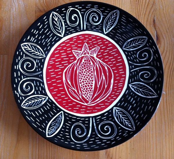 pomegranate, sgraffito design plate