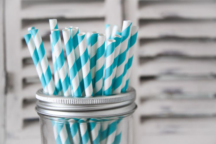 Bright Blue Striped Paper Straws - Teelee - A Bits & Bobs Brand