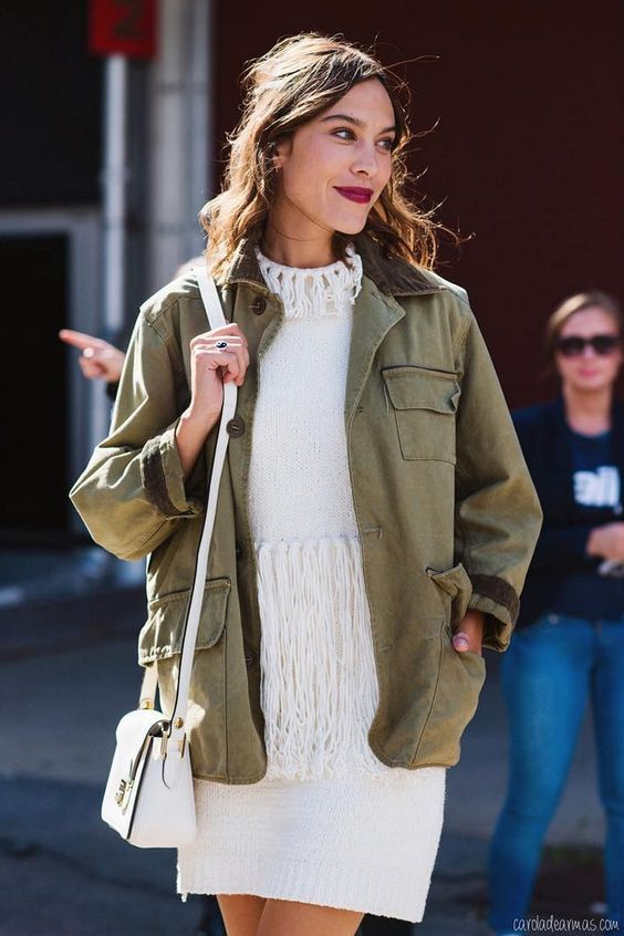 army green jacket with white fringe dress
