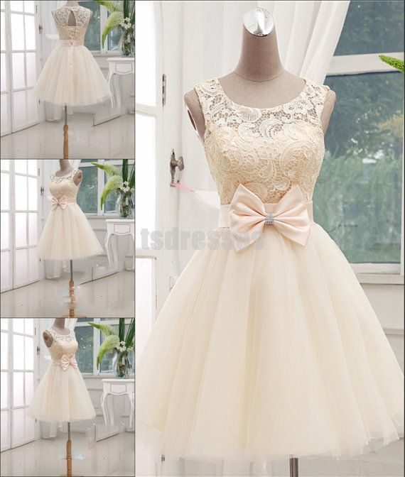 Princess Scoop Neck Ivory Lace and Organza Short by tsdresses, $109.99