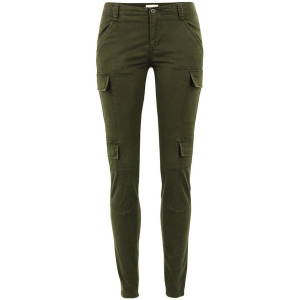 Denim & Supply - Ralph Lauren Olive Skinny Cargo Trousers. ($71) ❤ liked on Polyvore featuring pants, bottoms, jeans, pantalones, women, zipper pocket pants, army green pants, green skinny pants, zipper cargo pants and zipper pants