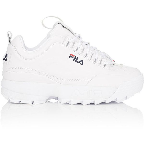 FILA Women's Disruptor 2 Lux Leather Sneakers ($120) ❤ liked on Polyvore featuring shoes, sneakers, white, leather low top sneakers, embroidered shoes, perforated sneakers, white sneakers and fila shoes