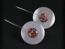Circles Porcelain XL - długie kolczyki, kwiatowe