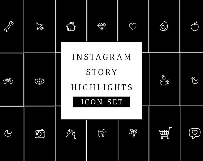 Instagram Story Highlight Icons Set - Black Instagram Stories