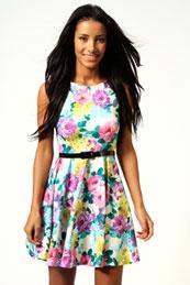 bright floral dress