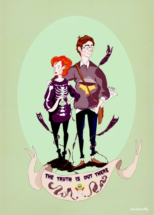 """College AU Mulder and Scully by punkscully  """"Studying isn't punk, Scully. You know what's punk? Hunting aliens with me."""""""