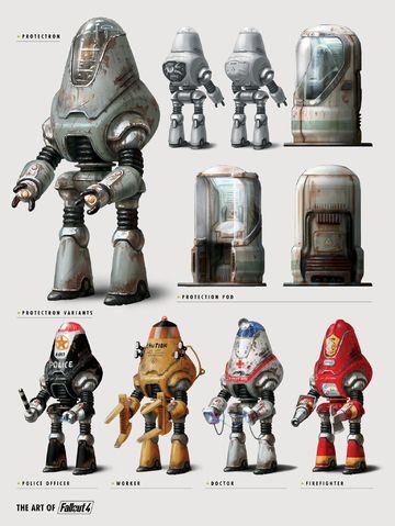 """Fallout 4"" Protectron models and pods. #atompunk #robot"