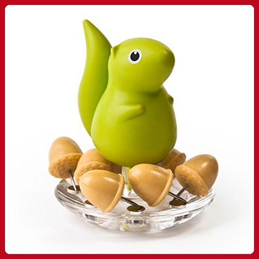 Decorative Push Pins Holder Squirrel and Acorn by Qualy Design Studio. Creative Push Pins Set Holder will be Great Gift for Office Colleague or for Kids. Unique Office Stationery Desktop Accessory. - Fun stuff and gift ideas (*Amazon Partner-Link)