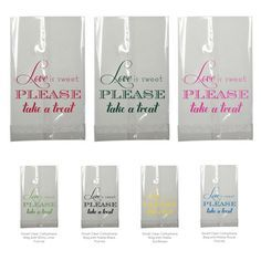 Candy Bar Bag Wedding Favor Love is Sweet Clear Small Cellophane Bags Treat Foil Stamped Personalized Bridal Shower Rehearsal Custom Colors by TeaAndBecky, $90.00