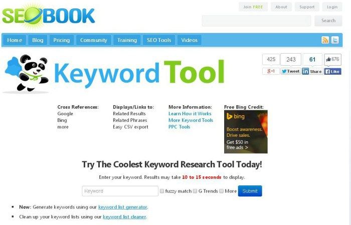 Tools SEO Book keyword research tool