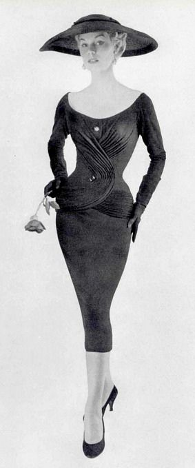1955 Stella in intricately draped sheath by Jacques Fath …                                                                                                                                                                                 More