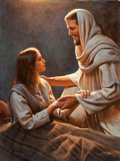 "The Savior demonstrates His divine power by raising a young girl from the dead. http://youtu.be/MGJ0TKRTEFI ""Be not afraid, only believe."" http://lds.org/scriptures/nt/mark/5.22-24,35-43#21 Enjoy more inspiring images, scriptures, and uplifting messages about the Lord Jesus Christ http://facebook.com/173301249409767"