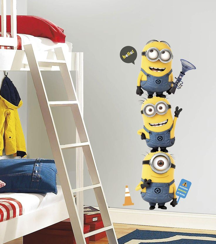 See how your little one(s) and his or her friends stack up against Stuart, Kevin and Bob with a Minions Despicable Me - Giant Minion Wall Decal. This easily removable wall decoration add a fun and creative dimension to any party and can guard over your child's bedroom long after the party has ended.