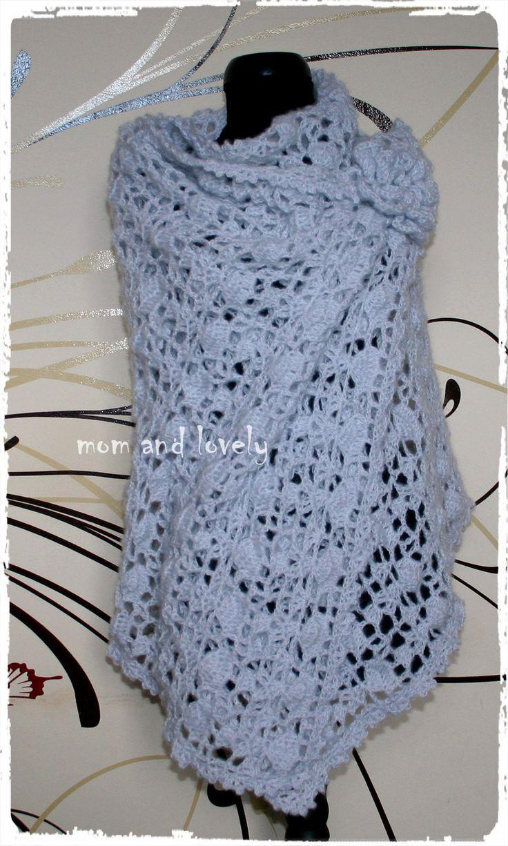 Etole au crochet point fantasie couleur bleu pale