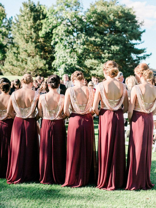 Traditional Red and Gold Wedding | Christmas bridesmaid