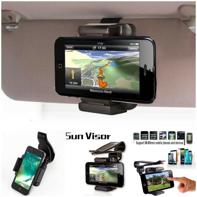 Car Sun Visor Clip Holder Mount Stand for iPhone 6//6S Plus//7 Plus Samsung Galaxy