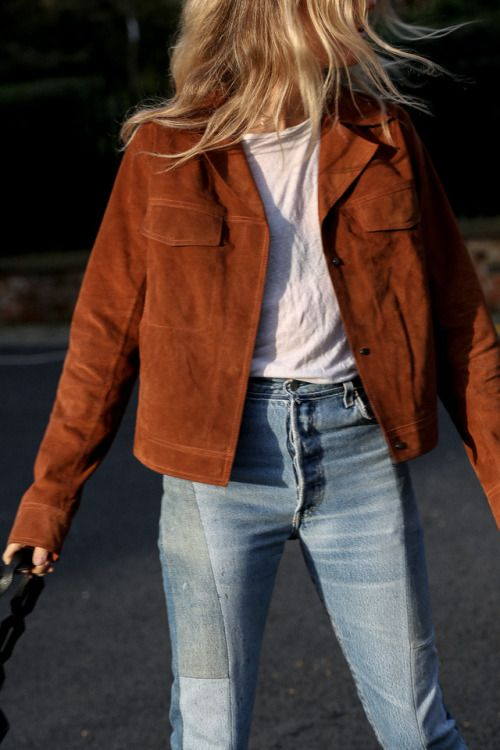 jeans denim suede brown jacket white tee shirt t-shirt
