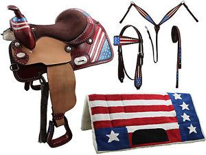 Tahoe Patriotic American Flag 5 Item Western Barrel Saddle Set Close Out Sale