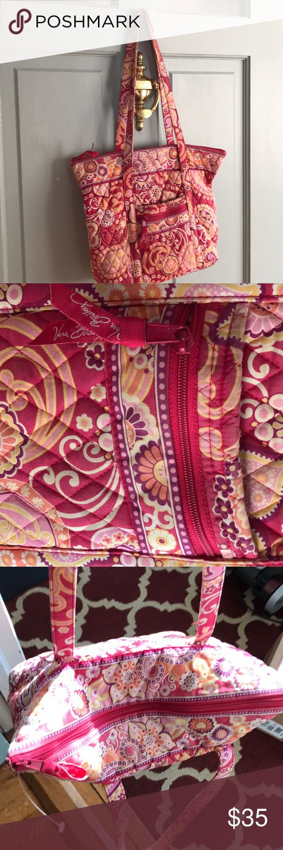 Vera Bradley tote bag Vera Bradley tote bag pretty red pink yellow orange paisley and floral pattern used once for a beach wedding  Clean  Zip closures and included is a small change keyfab Vera Bradley Bags Totes