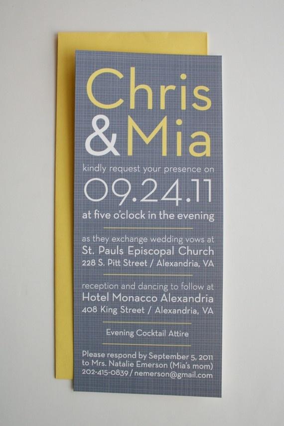 Simple & beautiful grey/yellow wedding invite